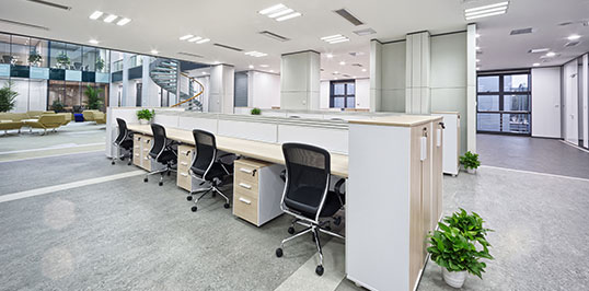 A cleaned commercial office